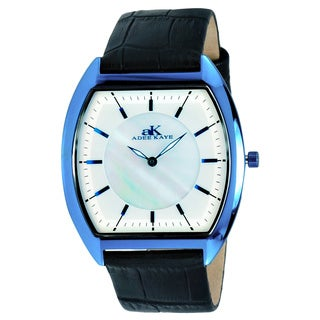 Adee Kaye Men's AK2200-MIPBU Slim Collection Silvertone and Blue Watch