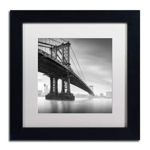 Moises Levy 'Manhattan Bridge I' White Matte, Black Framed Wall Art