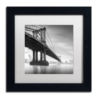 Moises Levy 'Manhattan Bridge I' White Matte, Black Framed Wall Art