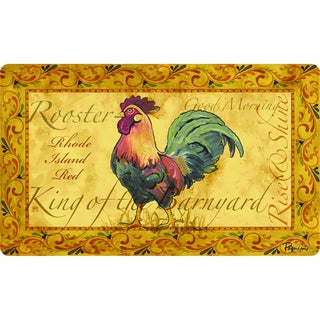 Rooster Checkered Non Skid Kitchen Mat Rubber Back Rug 18