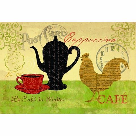 "Indoor Morning Coffee Kitchen Mat (18x30) - Tan/Green - 1'6"" x 2'6"""