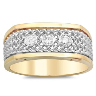 14k Two-tone Gold Men's 1/4ct TDW Diamond Ring (G-H, SI1-SI2)
