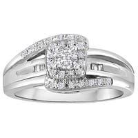 Platinaire 1/4ct TDW Diamond Halo Engagement Ring - White I-J