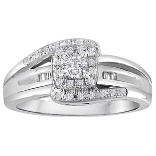 Platinaire 1/4ct TDW Diamond Halo Engagement Ring - White I-J