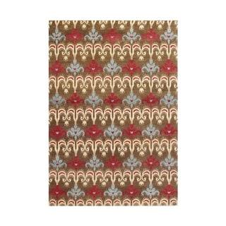 Alliyah Handmade Brown Ikat New Zealand Blend Wool Rug (5' x 8')