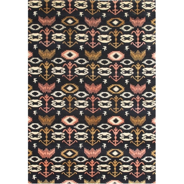 Alliyah Handmade Black Ikat New Zealand Blend Wool Rug - 5' x 8'
