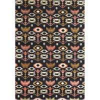 Alliyah Handmade Black Ikat New Zealand Blend Wool Rug (5' x 8')