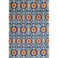 Alliyah Handmade Blue Ikat New Zealand Blend Wool Rug (5' x 8')