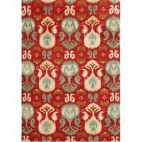 Alliyah Handmade Red Ikat New Zealand Blend Wool Rug (5' x 8')