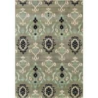 Alliyah Handmade Green Ikat New Zealand Blend Wool Rug (5' x 8')