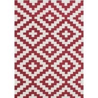 Alliyah Handmade Red Flat Weave Wool Rug - 5' x 8'