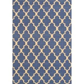 Handmade Alliyah Blue Flat Weave Wool Rug (5' x 8')