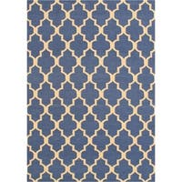 Handmade Alliyah Blue Flat Weave Wool Rug - 5' x 8'