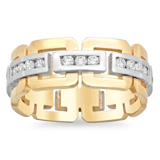 14k Two-tone Gold Men's 1ct TDW Diamond Eternity Ring (G-H, SI1-SI2)