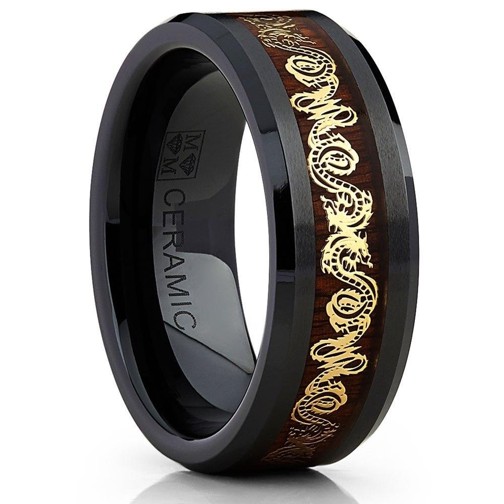 Shop Oliveti Black Ceramic Men S Inlaid Gold Dragon And Koa Wood