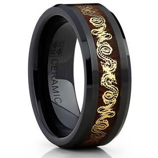 Oliveti Black Ceramic Men's Inlaid Gold Dragon and Koa Wood 8mm Wedding Band|https://ak1.ostkcdn.com/images/products/10478372/P17567483.jpg?impolicy=medium