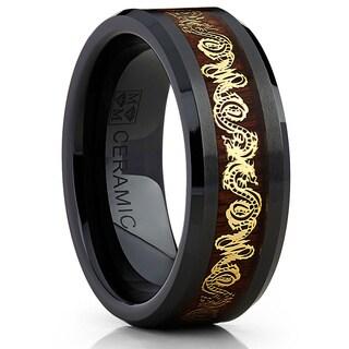 Oliveti Black Ceramic Men's Inlaid Gold Dragon and Koa Wood 8mm Wedding Band