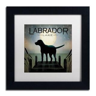 Ryan Fowler 'Moonrise Black Dog Labrador Lake' White Matte, Black Framed Wall Art