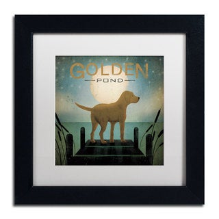 Ryan Fowler 'Moonrise Yellow Dog Golden Pond' White Matte, Black Framed Wall Art