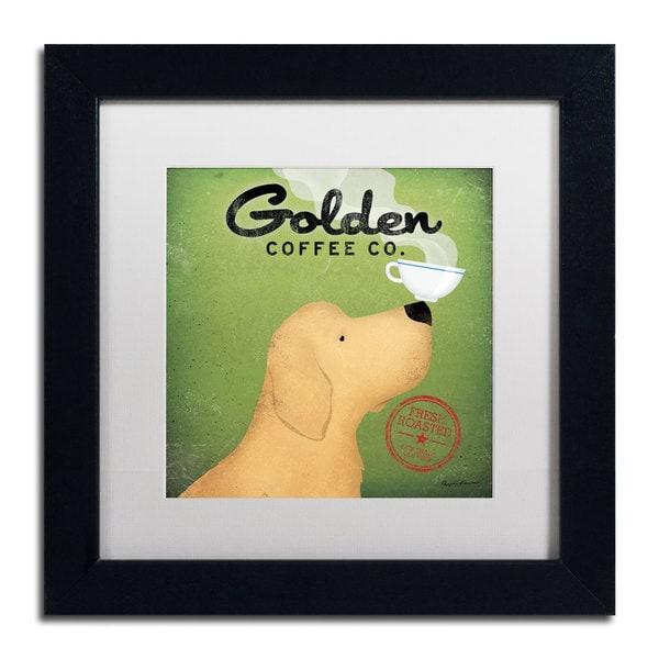 Ryan Fowler 'Golden Coffee Co' White Matte, Black Framed Wall Art