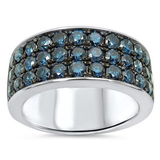 Noori 14k White Gold Men's 2 1/2ct TDW Blue Diamond Ring (SI1-SI2)