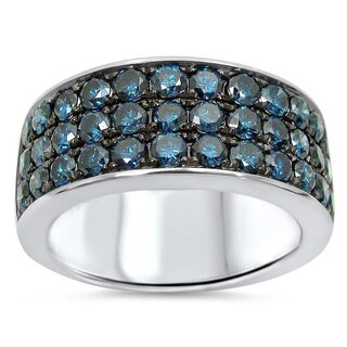 Noori 14k White Gold Men's 2 1/2ct TDW Blue Diamond Ring