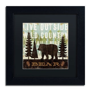 Michael Mullan 'Simple Living Bear' Black Matte, Black Framed Wall Art
