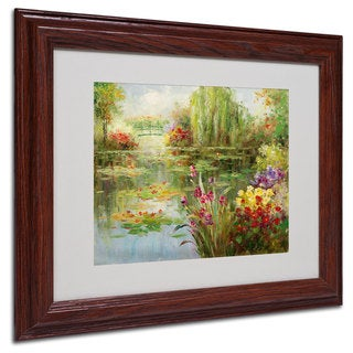 Victor Giton 'Water Lilies' White Matte, Wood Framed Wall Art