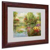 Victor Giton 'Water Lilies' White Matte, Wood Framed Wall Art