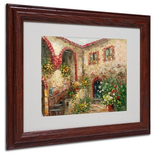 Rio 'Tuscany Courtyard' White Matte, Wood Framed Wall Art