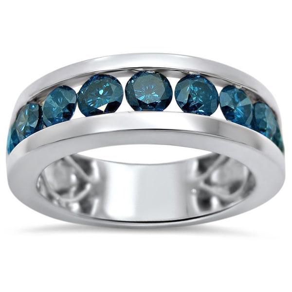 Shop 14k White Gold Men S 1 7 8ct Tdw Blue Diamond Ring