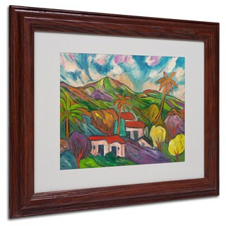 Manor Shadian 'Tropical Valley with Palms' White Matte, Wood Framed Wall Art