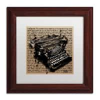 Roderick Stevens 'Three-Quarter Typewriter' White Matte, Wood Framed Wall Art