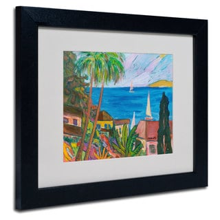 Manor Shadian 'Three Sails on the Pacific' White Matte, Black Framed Wall Art