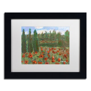 Manor Shadian 'Red Poppies in the Wood' White Matte, Black Framed Wall Art