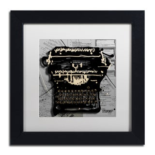 Roderick Stevens 'Movie Typewriter' White Matte, Black Framed Wall Art