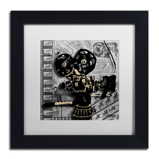 Roderick Stevens 'Movie Camera' White Matte, Black Framed Wall Art