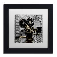 Roderick Stevens 'Movie Camera' White Matte, Black Framed Wall Art