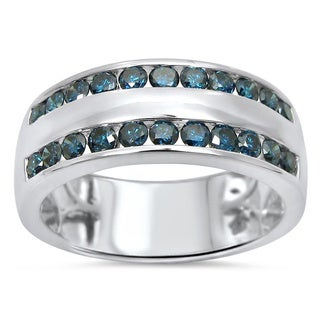 Noori 14k White Gold Men's 1 1/10ct TDW Blue Round Diamond Wedding Ring (SI1-SI2)