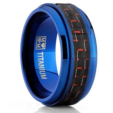 Oliveti Men's BlueTitanium Black and Red Carbon Fiber Men's 9mm Comfort Fit Band