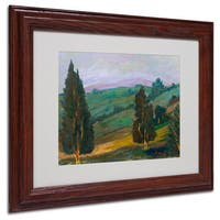 Manor Shadian 'Evergreens on Green Slope' White Matte, Wood Framed Wall Art