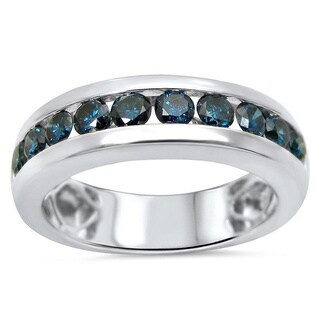 Noori 14k White Gold Men's 1ct TDW Blue Diamond Band