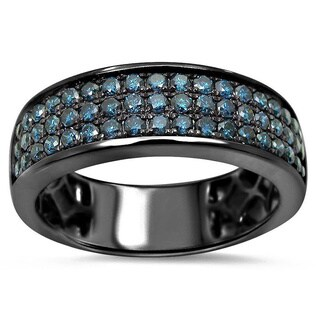 Noori 14k Black Gold Men's 1ct TDW Blue Diamond Wedding Ring