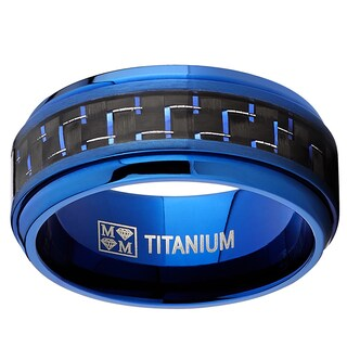 Oliveti Titanium and Carbon Fiber Men's Black and Blue Comfort Fit 9mm Band (More options available)