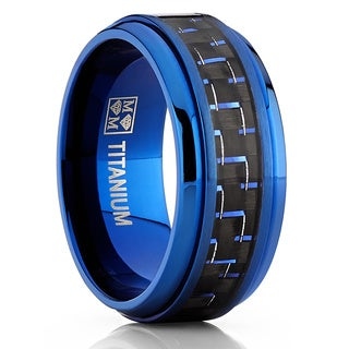 Oliveti Titanium And Carbon Fiber Men S Black And Blue Comfort Fit 9mm Band