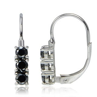 DB Designs Sterling Silver 3/4ct TDW Black Diamond 3-Stone Leverback Earrings