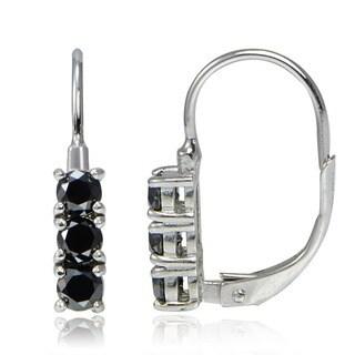 DB Designs Sterling Silver 3/4ct TDW Black Diamond 3-Stone Leverback Earrings