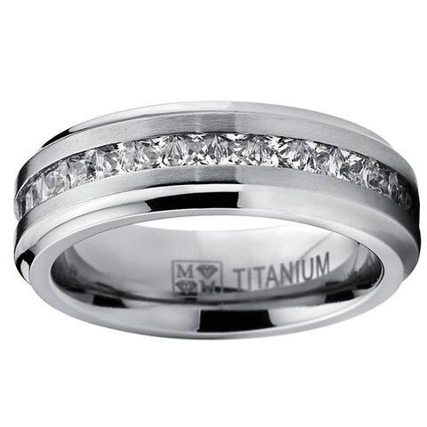 Oliveti Titanium Men's Channel-set Princess-cut Cubic Zirconia 7mm Eternity Wedding Band - White