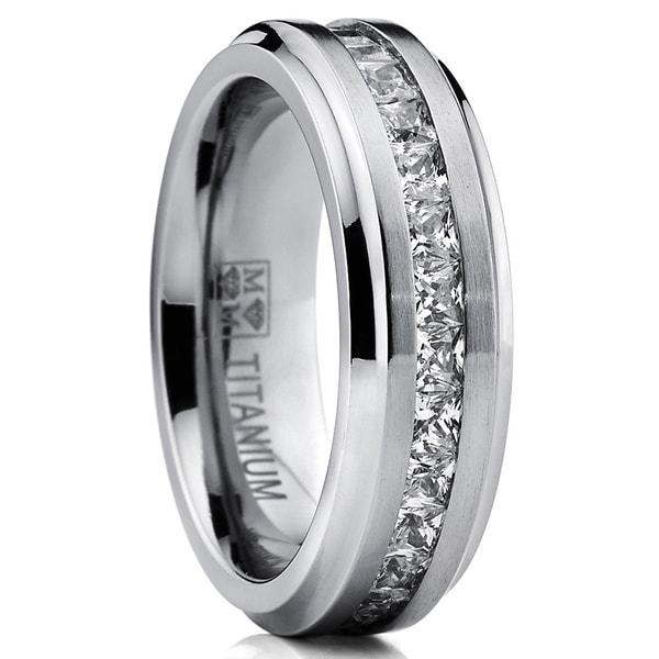 Oliveti Titanium Men's Channel-set Princess-cut Cubic Zirconia 7mm Eternity Wedding Band - White. Opens flyout.