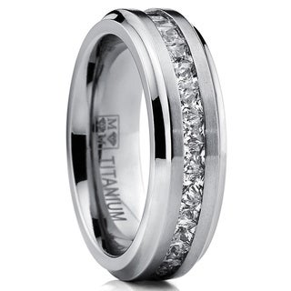 Oliveti Titanium Men's Channel-set Princess-cut Cubic Zirconia 7mm Eternity Wedding Band